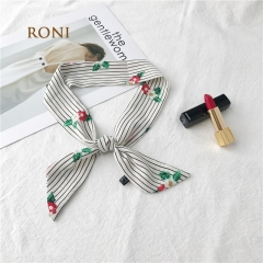 RONI 2018 Lady chiffon multi-colored silk scarf  girl headscarf  women bag accessories 01 90cm