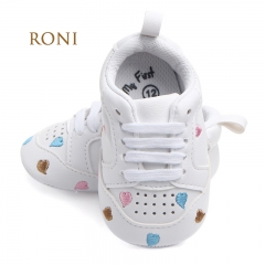 RONI Boy and girl  Red heart five-pointed star baby shoes, baby soft bottom shoes 01 11cm