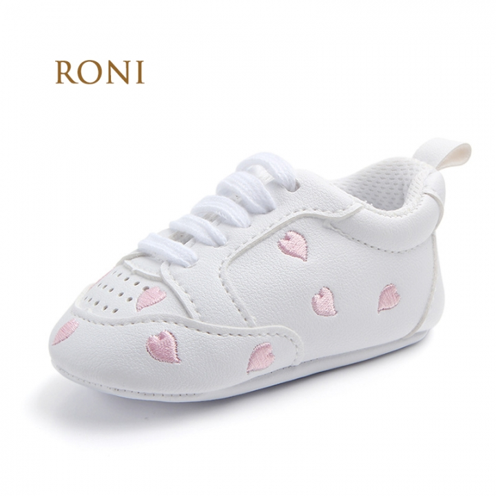 RONI Boy and girl  Red heart five-pointed star baby shoes, baby soft bottom shoes 02 12cm