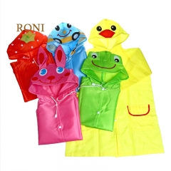 RONI Cartoon animal raincoat, children's waterproof raincoat Yellow duck All code Polyester