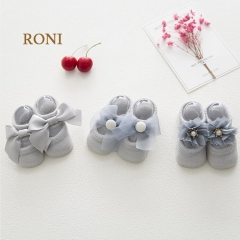 RONI 3 pairs Baby  lace bows girl  pure cotton socks  kids floor socks 01 M