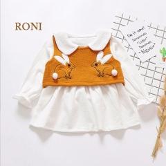 RONI  Baby girl  clothes suit kids  rabbit wool  vest and cotton dress set. 01 80cm