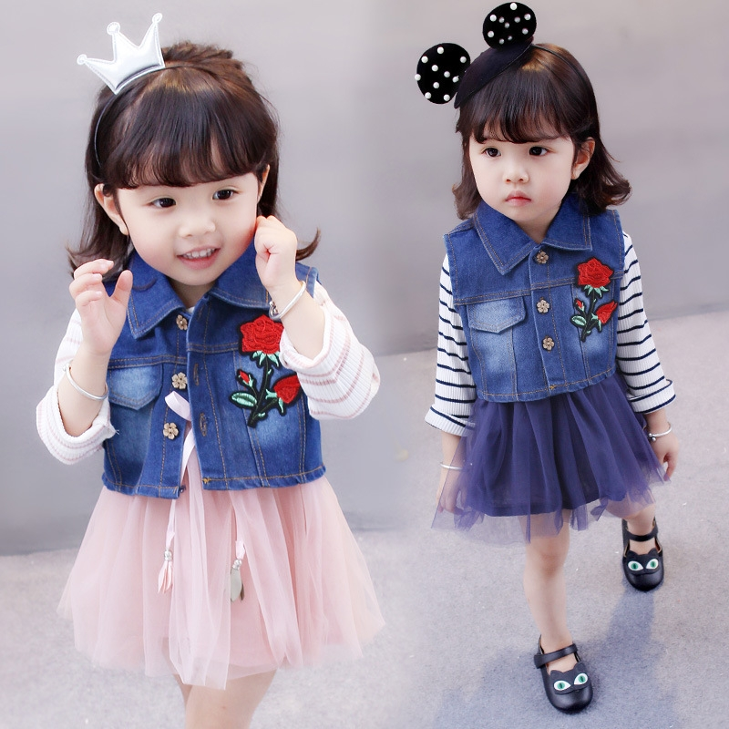 54fa0a0a1 Kilimall  RONI Girl rose Cotton denim vest gauze dress set 01 80cm ...