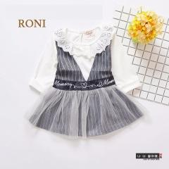 RONI Girls clothes suit baby  kids cotton T-shirts +  suspender gauze  skirt  Set 01 80cm