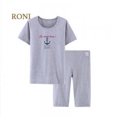 RONI Boy Cotton Navy Short Sleeved Shirt, Five Pants Home Suit Set 01 100CM