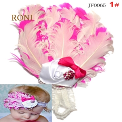 RONI Fashion style , colorful feathers inlaid with diamond children's hair band 01