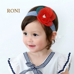 RONI Multi-color large flower baby elastic hair band 01