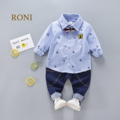 RONI Boy bear 100%  cotton shirt with jeans set 01 90/M