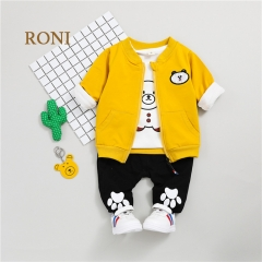RONI Baby boy 100% cotton clothes suit girl kids coat+T-shirt+pants three-piece suit kids clothing 01 80/S