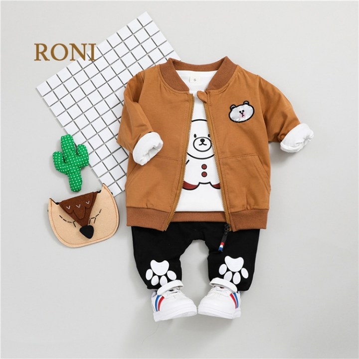 163a4ad40 RONI Baby boy 100% cotton clothes suit girl kids coat+T-shirt+pants ...