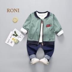 RONI Baby boy 100% cotton clothes suit  kids coat+T-shirt+pants three-piece suit kids clothing 01 80/S