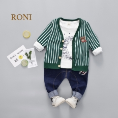 RONI  Korean version of the striped bear 100% cotton  coat with a T-shirt and imitation jeans suit 01 80/S