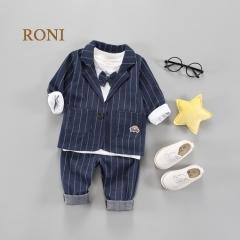 RONI Baby boy 100% cotton clothes suit  kids coat+T-shirt+pants three-piece suit kids clothing 03 110/XL