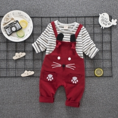 RONI Summer Baby Boy 100% Cotton Clothes Suit Girl Kids T-shirt + Strap pantsTwo-piece Set 01 80/S