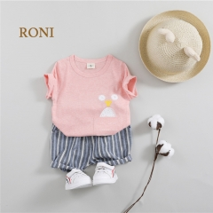 RONI Summer Baby Girl Clothes Suit Kids Boy 100% Cotton Cute Printed  T- Shirts + Shorts Set 01 80/s