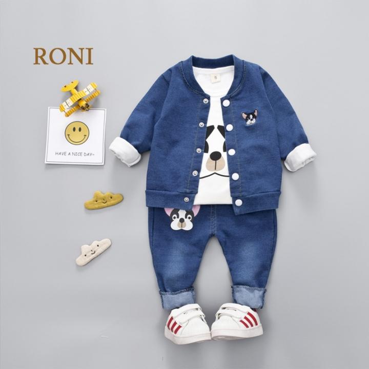 RONI Baby boy 100% cotton clothes suit girl kids coat+T-shirt+pants three-piece suit kids clothing 01 100/L