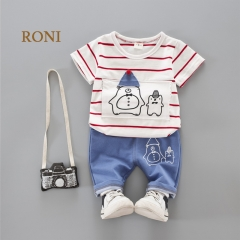 RONI Baby Girl Clothes Suit Kids Boy  100% Cotton Polar Bear Striped T-shirt  + Five Cents Pants Set 01 80/S