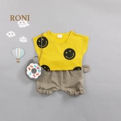 RONI Baby girl clothes suit kids boy cute smile face 100% cotton loose bat shirt T-shirt + pants set 01 80/s