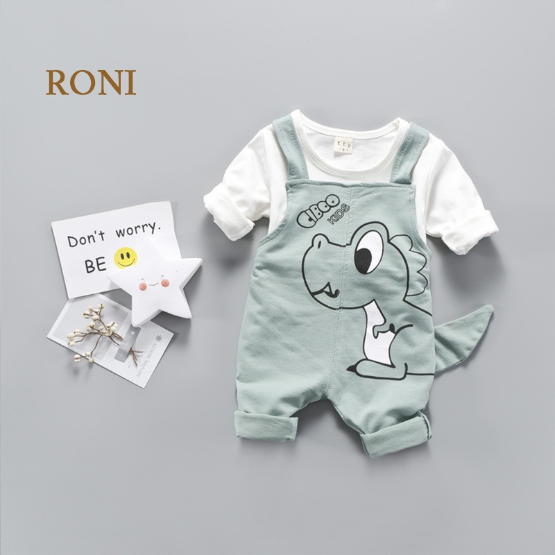 2dcb046c61 RONI Baby girl clothes suit kids boy small dinosaur 100% cotton T ...