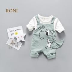 RONI Baby girl clothes suit kids boy small dinosaur 100% cotton T-shirt +Strap pants set 01 80/s