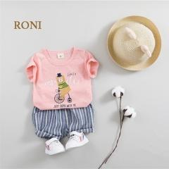 RONI Summer Baby Boy 100% Cotton Clothes Suit Girl Kids T-shirt +Shorts Two-piece Set 02 80/s