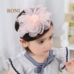 RONI Baby girl chiffon large flower elastic hair band 01