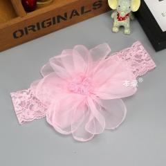 RONI Baby girl chiffon large flower elastic hair band 02