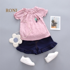 RONI Summer baby girl clothes suit  kids 100% cotton T- shirt +   skirt pants suit 01 80/s