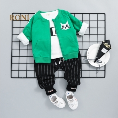 RONI Baby boy 100% cotton clothes suit girl  coat+T-shirt+pants three-piece suit kids clothing 01 80/s