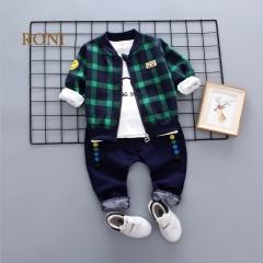 RONI Baby boy 100% cotton clothes suit girl kids coat+T-shirt+pants  three-piece suit kids clothing 01 90/m