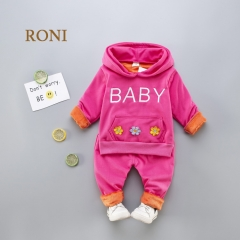 RONI Winter  baby girl round collar thick  jacket  with extra wool  and  trousers suit kids clothing 01 80/s