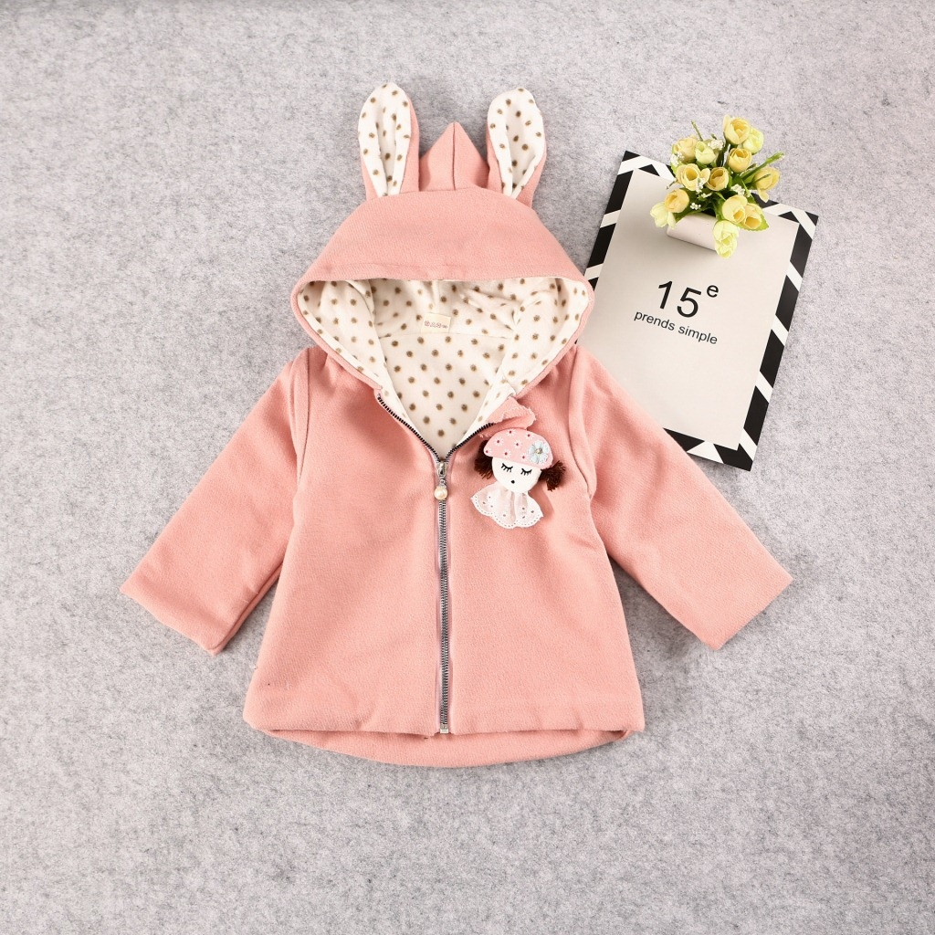 d8582c896 RONI Baby girl winter rabbit ears 100% color thick short coat kids ...