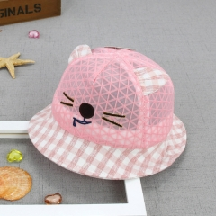 RONI Mouth cat summer grid bonnet, baby breathable grid sunshade fisherman hat 01