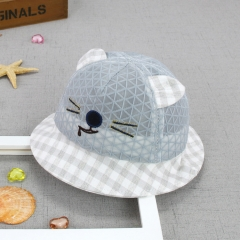 RONI Mouth cat summer grid bonnet, baby breathable grid sunshade fisherman hat 02