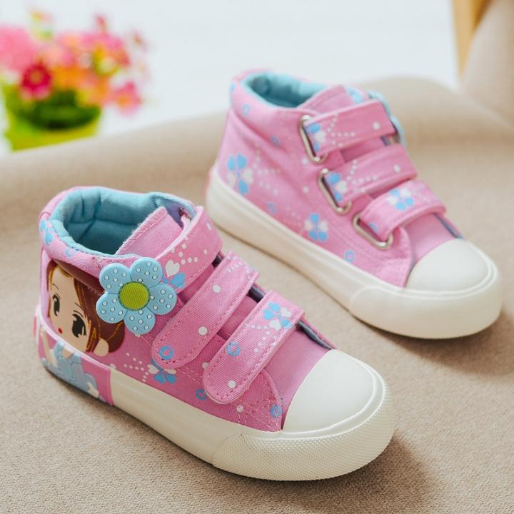RONI 2018 New Baby Girl Cartoon Cute Flower Princess Shoe Kids Canvas Shoes  Casual Shoes 01 5abbf74bdf6f