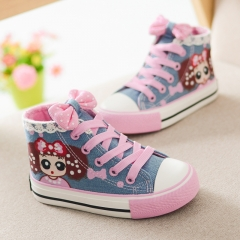 RONI 2018 Baby girl cute board shoes  kids lace handpainted canvas high  shoes 01 25