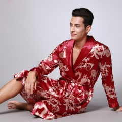 RONI Men Dragon and Phoenix printing imitation silk pajamas men long family clothes 01 L