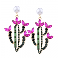 RONI Personality cactus shape inlaid diamond ear nail girl sweet temperament Pearl ear ornaments 01 all code