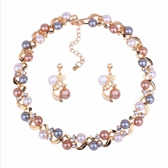 RONI Imitation pearl necklace earring suit 02 all code