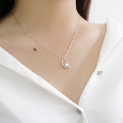 RONI S925 sterling silver original design irregular hollow natural freshwater pearl necklace silver all code
