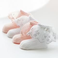 RONI 4Pairs   Summer girl lace bow Pearl thin princess socks 01 S