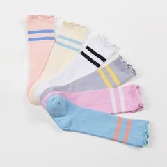 RONI 3 Pairs of Spring and Autumn Baby stripe  Socks Cotton stocking Pink + Skin pink + Yellow s