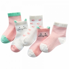 RONI 5 Pairs of  2018 Spring and summer new thin child cartoon tube socks 01 l