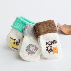RONI 3 Pairs of Baby winter thickened cotton socks cartoon animal Anti-Slip baby floor socks 01 xs