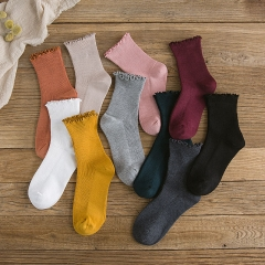 RONI 10 Pairs of Spring  new tube side cotton socks Korean version of lovely literary socks Random all code