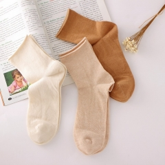 RONI 3 Pairs of Natural cotton roll edge pure color socks Random all code