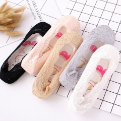 RONI 5 Pairs of  Silicone non-slip non-defoliating lace non-trace shallow mouth socks Random all code