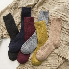 RONI 6 Pairs of  Winter thickened striped wool socks Random all code