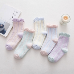 RONI 5 Pairs of  winter coral velvet home socks thickened warm coil color floor socks Random all code