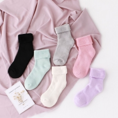 RONI 6 Pairs Winter pure color thickened warm socks Random all code